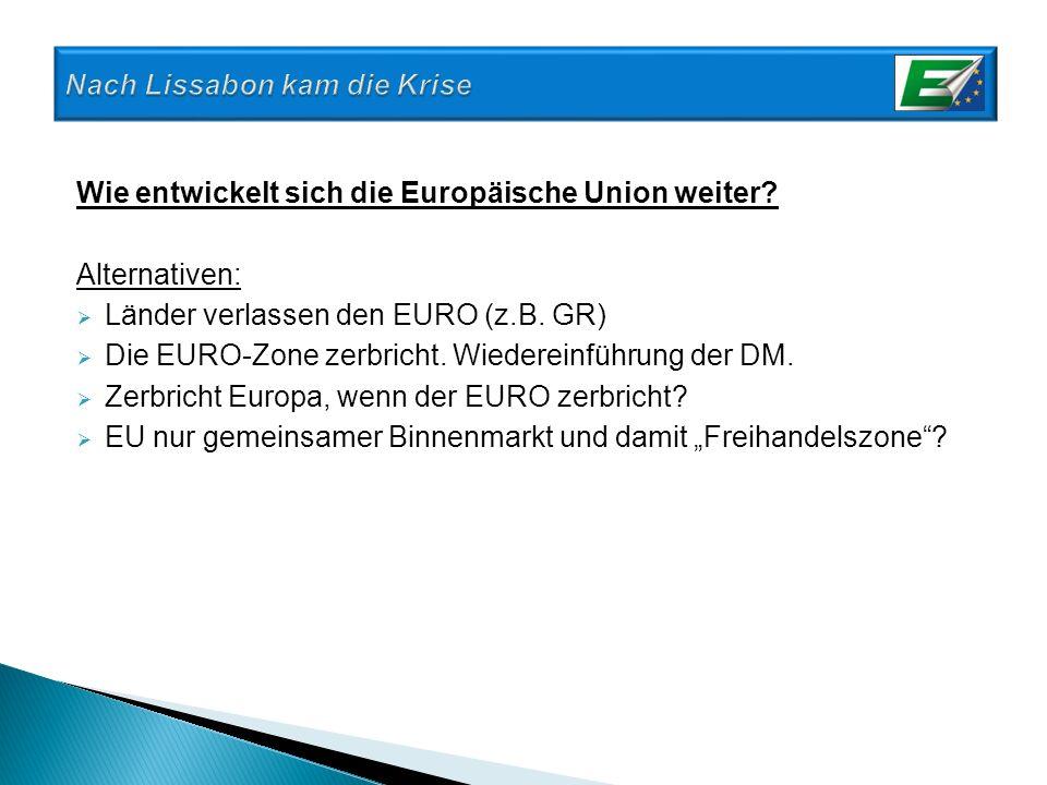 Wie entwickelt sich die Europäische Union weiter? Alternativen: Länder verlassen den EURO (z.B. GR) Die EURO-Zone zerbricht. Wiedereinführung der DM.