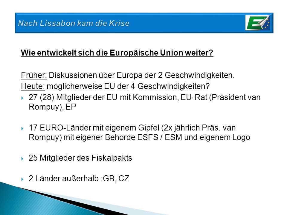 Wie entwickelt sich die Europäische Union weiter? Früher: Diskussionen über Europa der 2 Geschwindigkeiten. Heute: möglicherweise EU der 4 Geschwindig