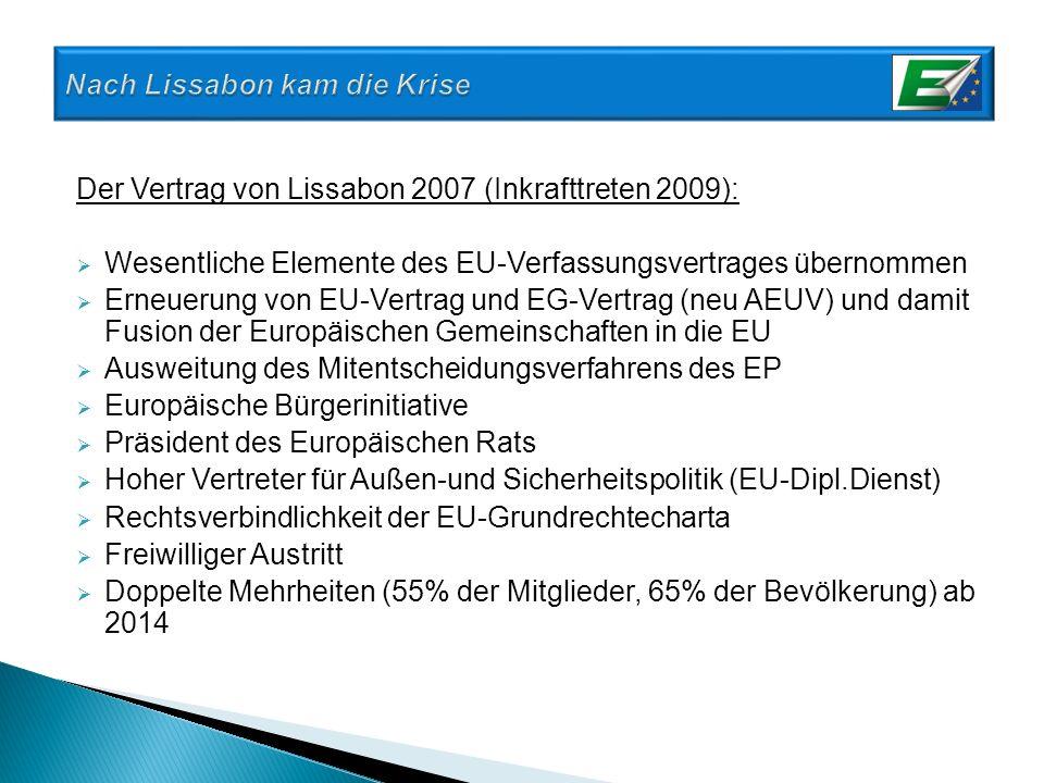 Der Vertrag von Lissabon 2007 (Inkrafttreten 2009): Wesentliche Elemente des EU-Verfassungsvertrages übernommen Erneuerung von EU-Vertrag und EG-Vertr