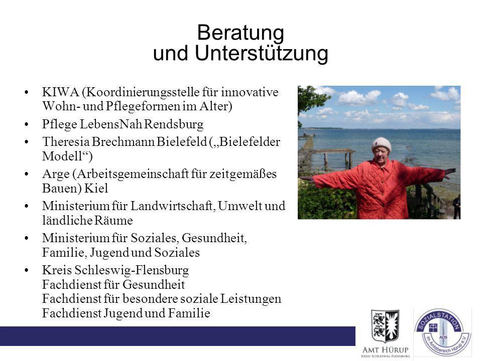 Beratung und Unterstützung KIWA (Koordinierungsstelle für innovative Wohn- und Pflegeformen im Alter) Pflege LebensNah Rendsburg Theresia Brechmann Bi