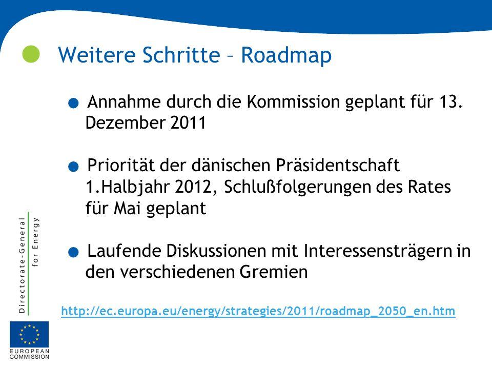 Weitere Schritte – Roadmap. Annahme durch die Kommission geplant für 13. Dezember 2011. Priorität der dänischen Präsidentschaft 1.Halbjahr 2012, Schlu
