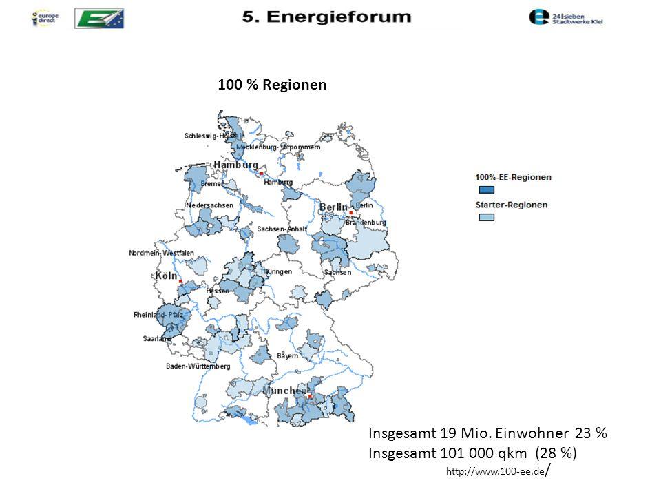 100 % Regionen http://www.100-ee.de / Insgesamt 19 Mio. Einwohner 23 % Insgesamt 101 000 qkm (28 %)