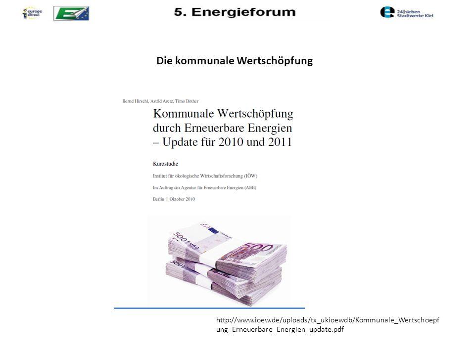 Die kommunale Wertschöpfung http://www.ioew.de/uploads/tx_ukioewdb/Kommunale_Wertschoepf ung_Erneuerbare_Energien_update.pdf