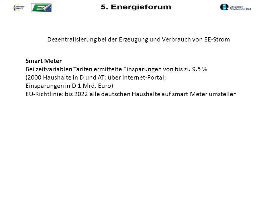 Dezentralisierung bei der Erzeugung und Verbrauch von EE-Strom Smart Meter Bei zeitvariablen Tarifen ermittelte Einsparungen von bis zu 9.5 % (2000 Haushalte in D und AT; über Internet-Portal; Einsparungen in D 1 Mrd.