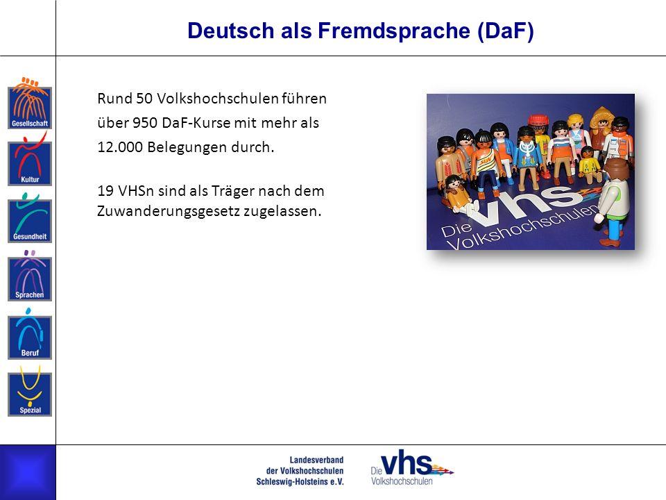 Deutsch als Fremdsprache (DaF) Rund 50 Volkshochschulen führen über 950 DaF-Kurse mit mehr als 12.000 Belegungen durch. 19 VHSn sind als Träger nach d