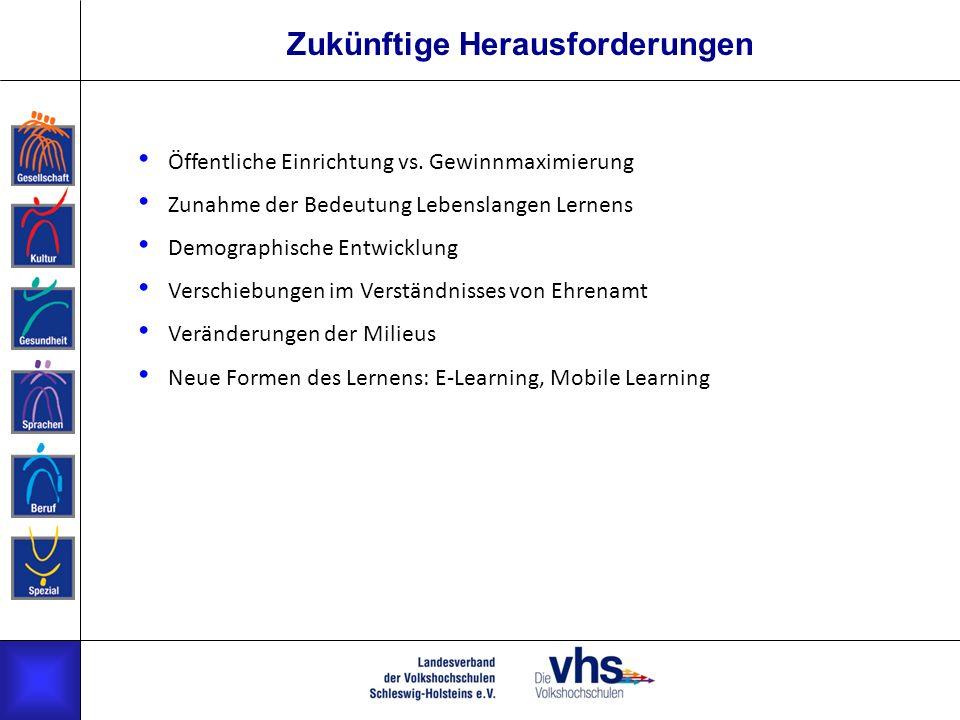Zukünftige Herausforderungen Öffentliche Einrichtung vs. Gewinnmaximierung Zunahme der Bedeutung Lebenslangen Lernens Demographische Entwicklung Versc