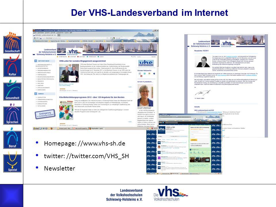 Der VHS-Landesverband im Internet Homepage: //www.vhs-sh.de twitter: //twitter.com/VHS_SH Newsletter