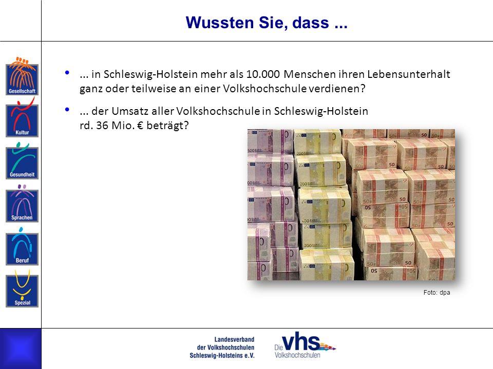 Wussten Sie, dass...... in Schleswig-Holstein mehr als 10.000 Menschen ihren Lebensunterhalt ganz oder teilweise an einer Volkshochschule verdienen?..