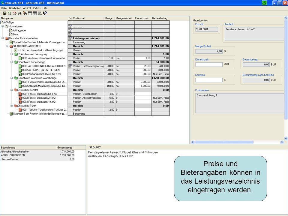 Preise und Bieterangaben können in das Leistungsverzeichnis eingetragen werden.