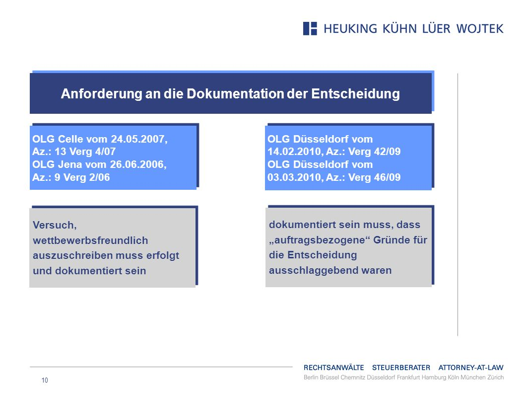 10 Anforderung an die Dokumentation der Entscheidung NICHT: OLG Celle vom 24.05.2007, Az.: 13 Verg 4/07 OLG Jena vom 26.06.2006, Az.: 9 Verg 2/06 OLG