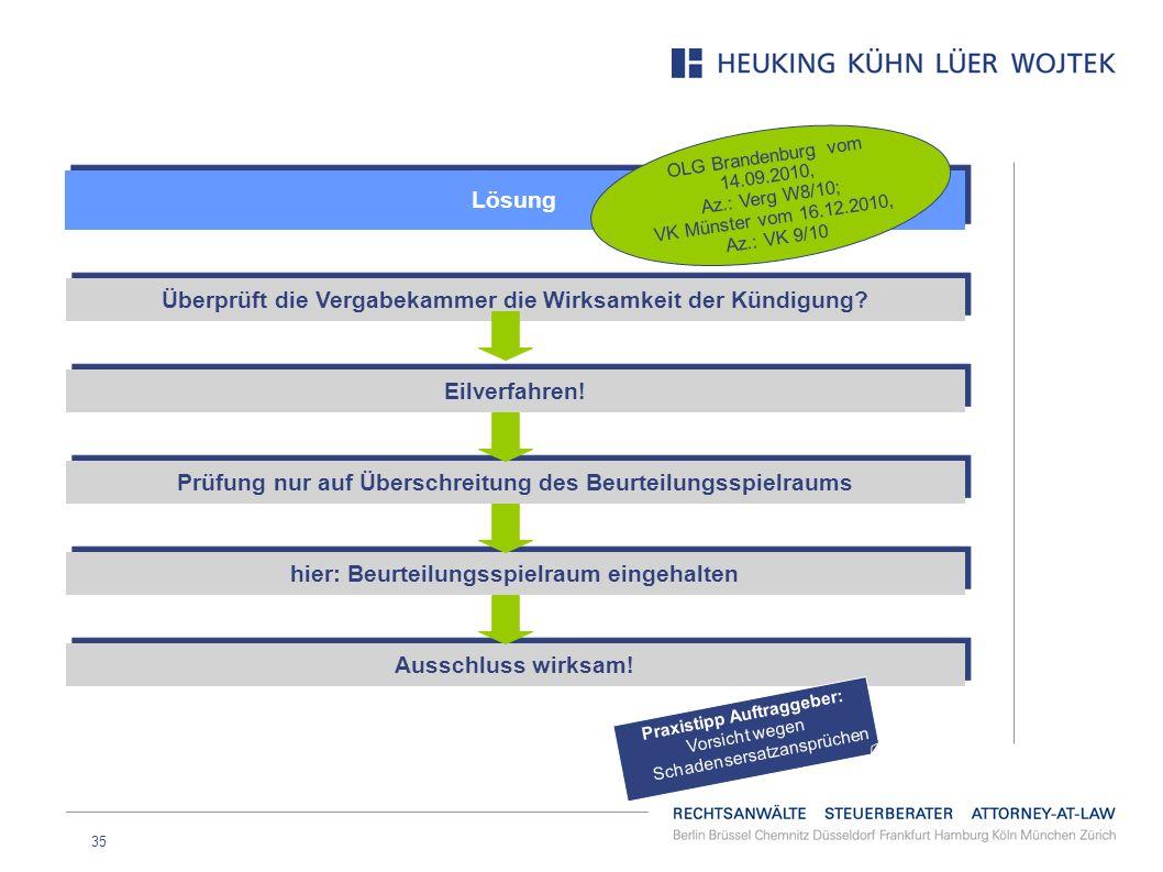 35 Lösung OLG Brandenburg vom 14.09.2010, Az.: Verg W8/10; VK Münster vom 16.12.2010, Az.: VK 9/10 Überprüft die Vergabekammer die Wirksamkeit der Kün