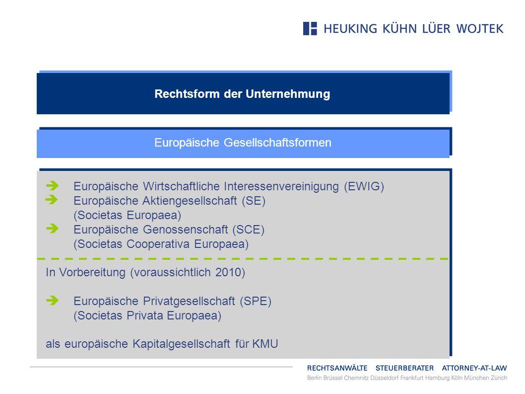 Rechtsform der Unternehmung Europäische Gesellschaftsformen Europäische Wirtschaftliche Interessenvereinigung (EWIG) Europäische Aktiengesellschaft (S