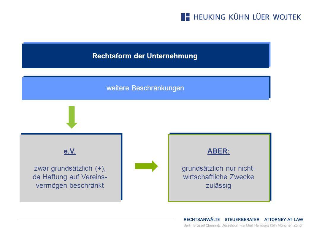 Rechtsform der Unternehmung weitere Beschränkungen e.V. zwar grundsätzlich (+), da Haftung auf Vereins- vermögen beschränkt e.V. zwar grundsätzlich (+
