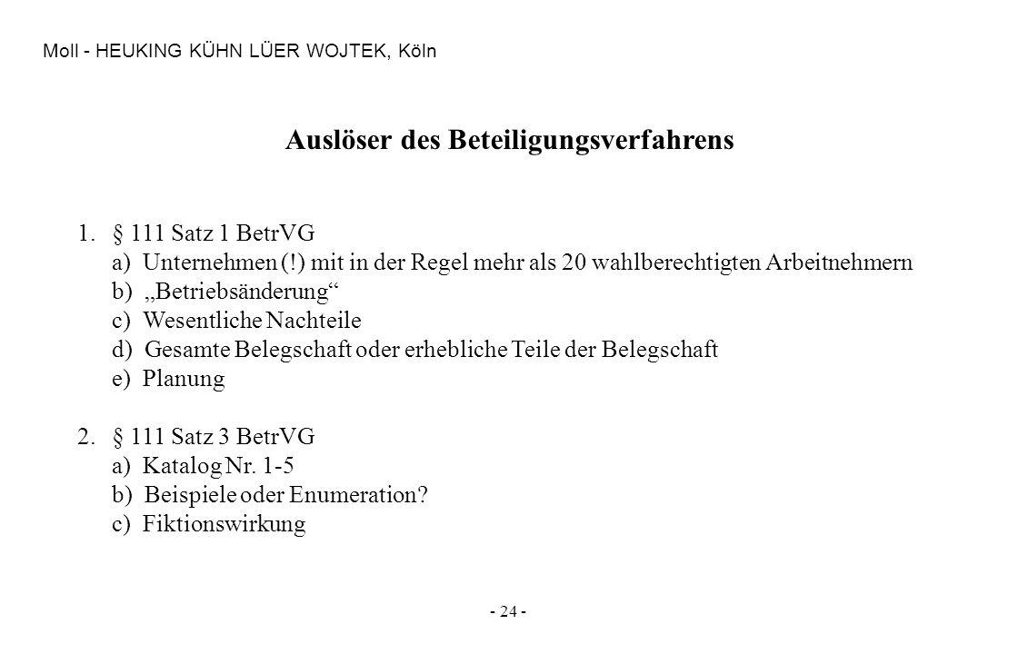 - 24 - Moll - HEUKING KÜHN LÜER WOJTEK, Köln Auslöser des Beteiligungsverfahrens 1.§ 111 Satz 1 BetrVG a) Unternehmen (!) mit in der Regel mehr als 20