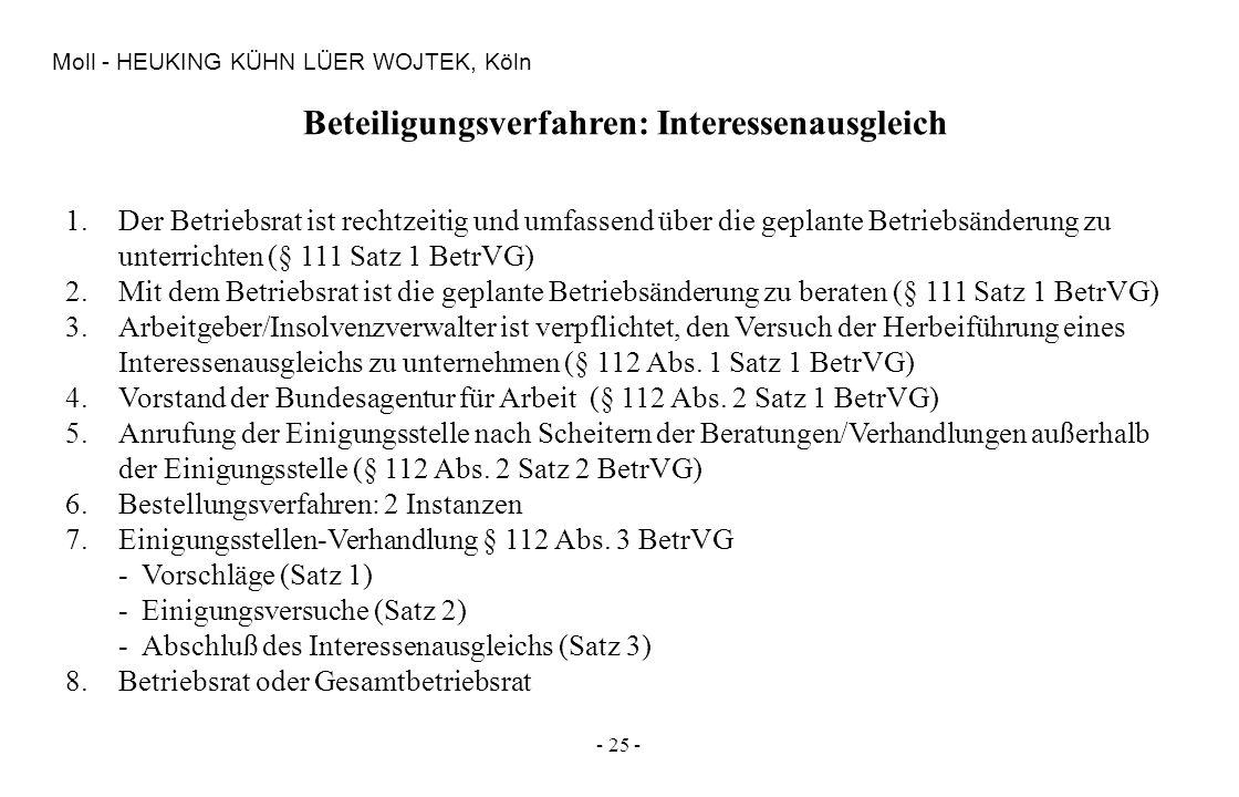 - 25 - Moll - HEUKING KÜHN LÜER WOJTEK, Köln Beteiligungsverfahren: Interessenausgleich 1.Der Betriebsrat ist rechtzeitig und umfassend über die gepla