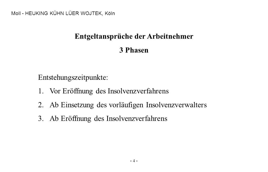 - 4 - Moll - HEUKING KÜHN LÜER WOJTEK, Köln Entgeltansprüche der Arbeitnehmer 3 Phasen Entstehungszeitpunkte: 1.Vor Eröffnung des Insolvenzverfahrens