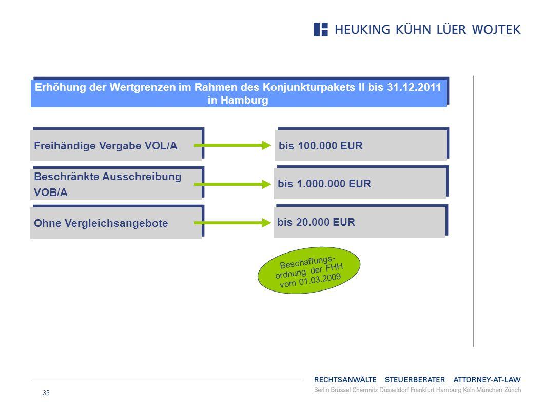 33 Erhöhung der Wertgrenzen im Rahmen des Konjunkturpakets II bis 31.12.2011 in Hamburg bis 100.000 EUR bis 1.000.000 EUR bis 20.000 EUR Freihändige V