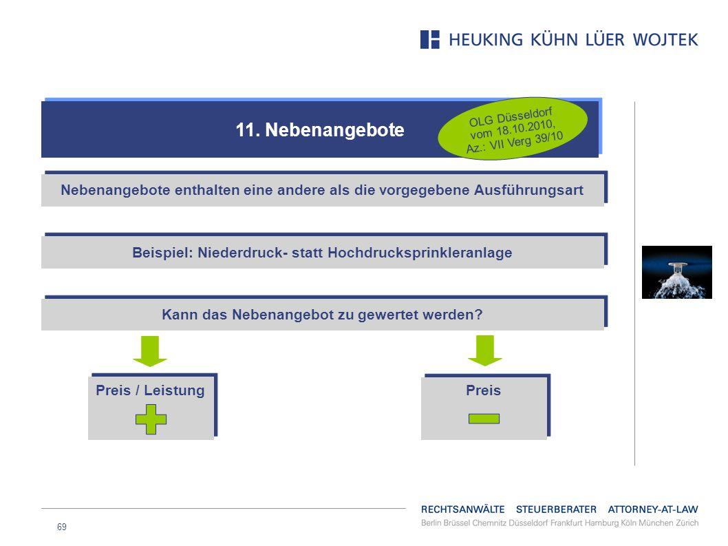 69 11. Nebenangebote OLG Düsseldorf vom 18.10.2010, Az.: VII Verg 39/10 Nebenangebote enthalten eine andere als die vorgegebene Ausführungsart Beispie