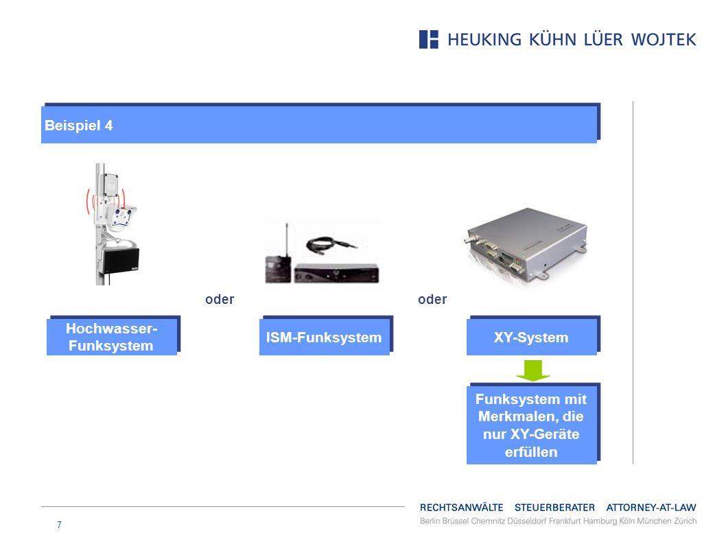 7 XY-System oder ISM-Funksystem Hochwasser- Funksystem Funksystem mit Merkmalen, die nur XY-Geräte erfüllen Beispiel 4