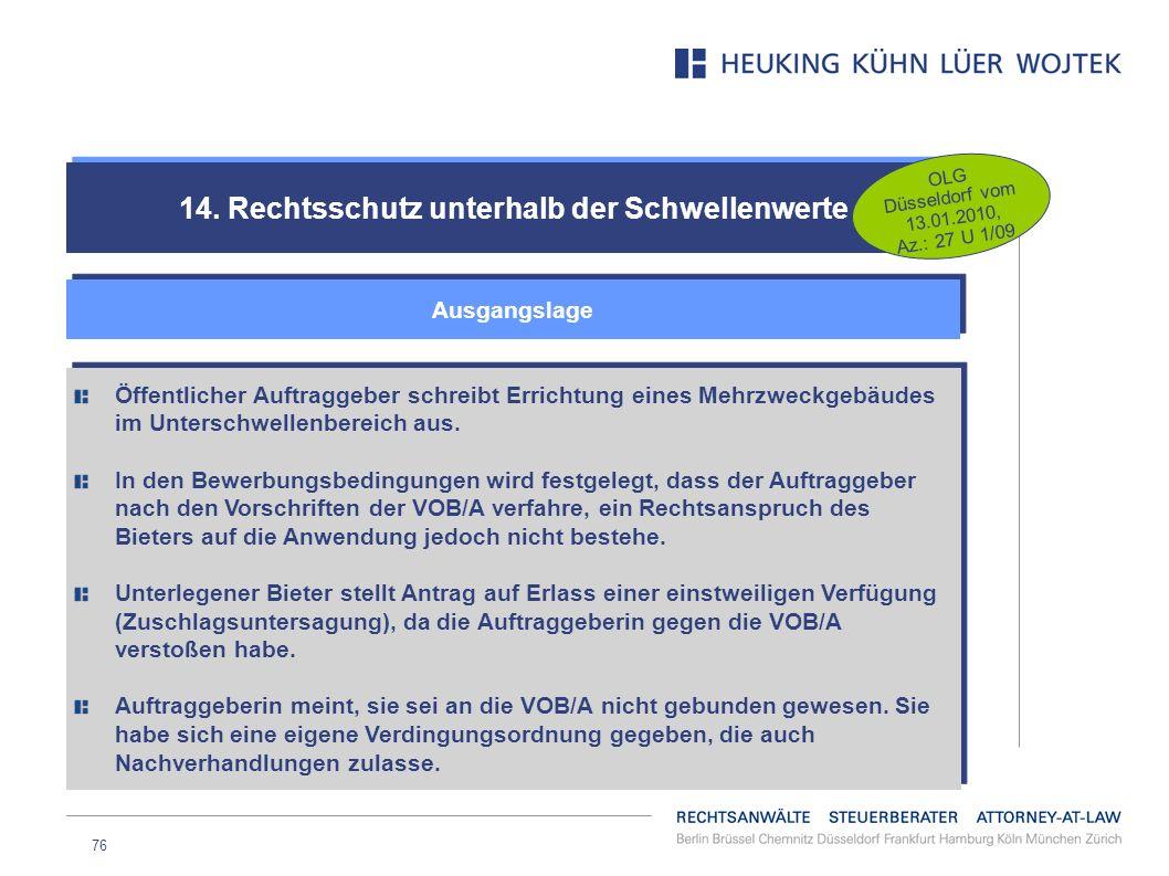 76 14. Rechtsschutz unterhalb der Schwellenwerte Ausgangslage OLG Düsseldorf vom 13.01.2010, Az.: 27 U 1/09 Öffentlicher Auftraggeber schreibt Erricht