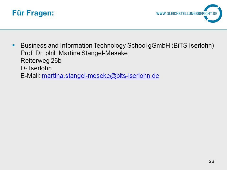 26 Für Fragen: Business and Information Technology School gGmbH (BiTS Iserlohn) Prof. Dr. phil. Martina Stangel-Meseke Reiterweg 26b D- Iserlohn E-Mai