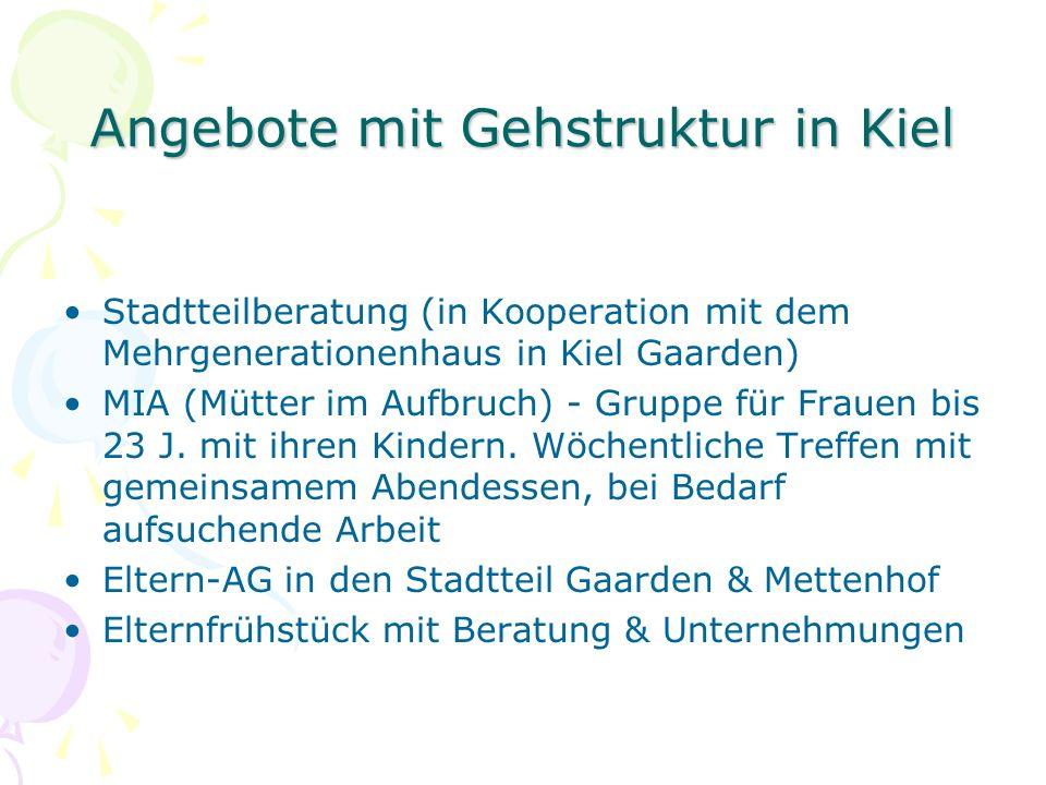 Angebote mit Gehstruktur in Kiel Stadtteilberatung (in Kooperation mit dem Mehrgenerationenhaus in Kiel Gaarden) MIA (Mütter im Aufbruch) - Gruppe für Frauen bis 23 J.