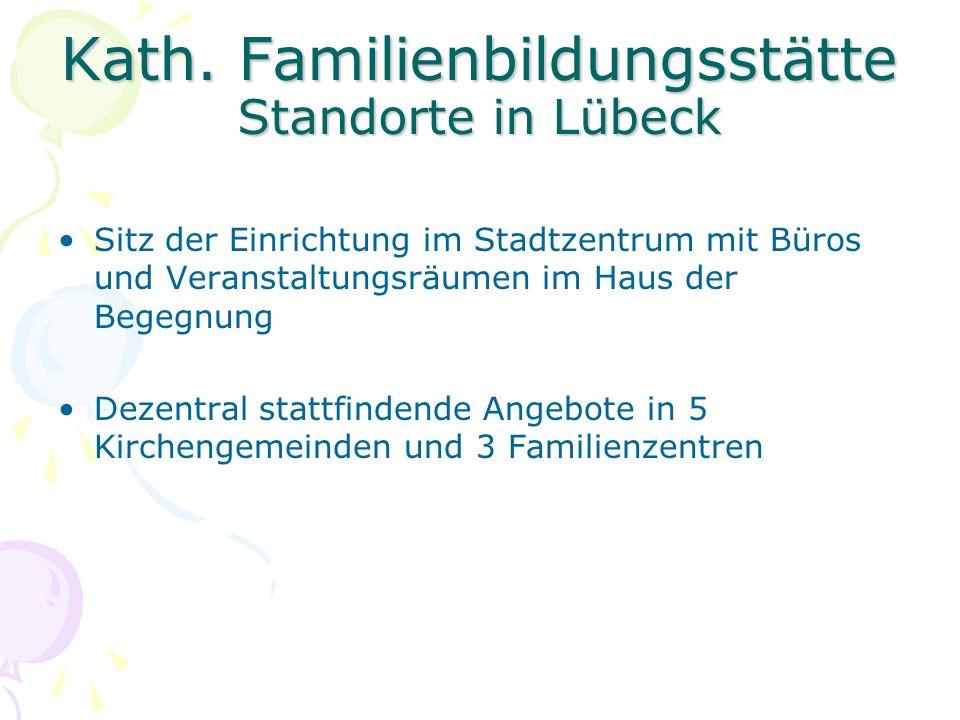 Kath. Familienbildungsstätte Standorte in Lübeck Sitz der Einrichtung im Stadtzentrum mit Büros und Veranstaltungsräumen im Haus der Begegnung Dezentr