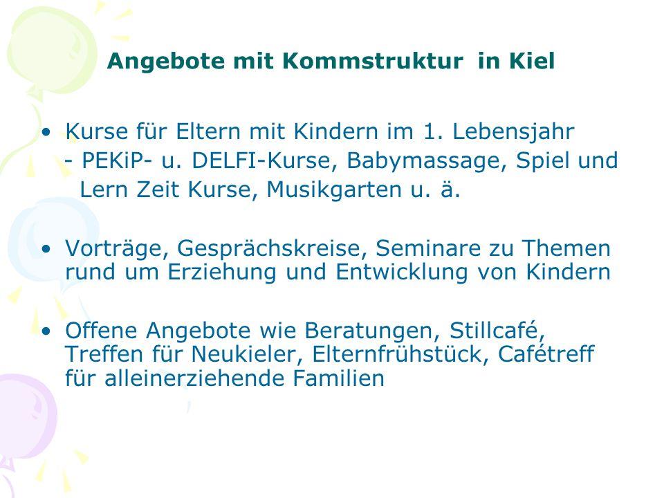 Angebote mit Kommstruktur in Kiel Kurse für Eltern mit Kindern im 1. Lebensjahr - PEKiP- u. DELFI-Kurse, Babymassage, Spiel und Lern Zeit Kurse, Musik