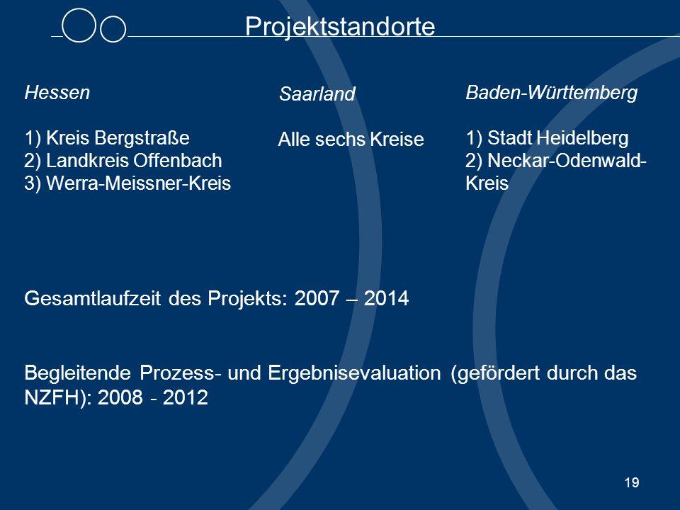 19 Hessen 1) Kreis Bergstraße 2) Landkreis Offenbach 3) Werra-Meissner-Kreis Gesamtlaufzeit des Projekts: 2007 – 2014 Begleitende Prozess- und Ergebni