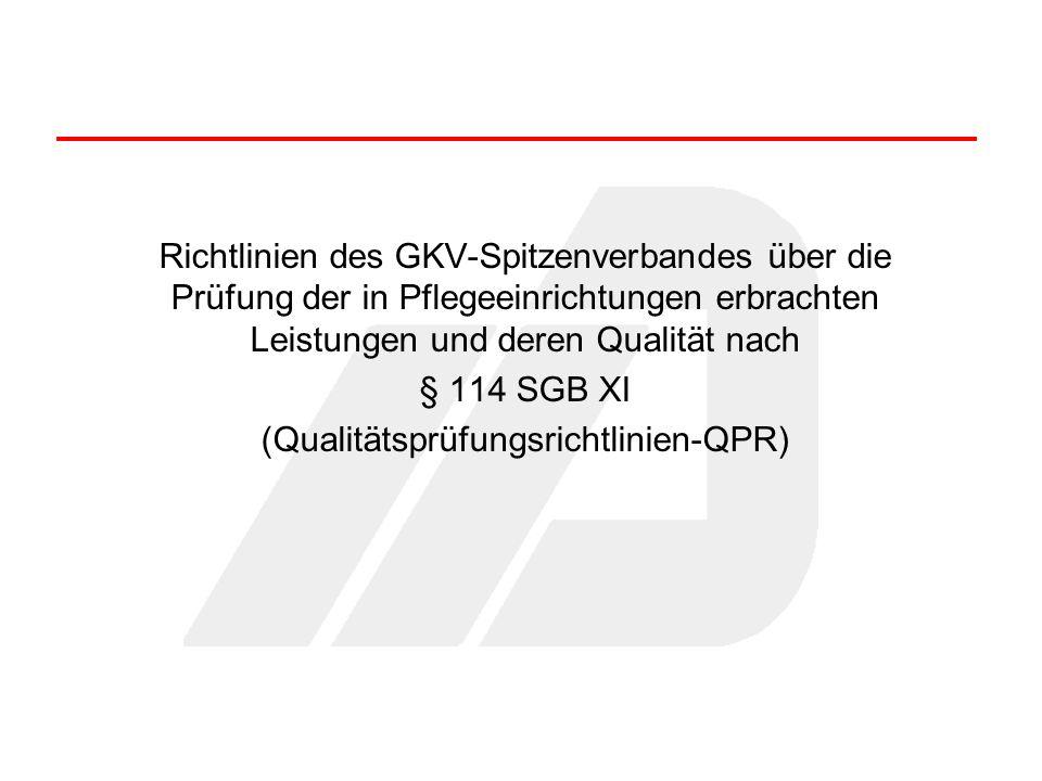 Richtlinien des GKV-Spitzenverbandes über die Prüfung der in Pflegeeinrichtungen erbrachten Leistungen und deren Qualität nach § 114 SGB XI (Qualitäts