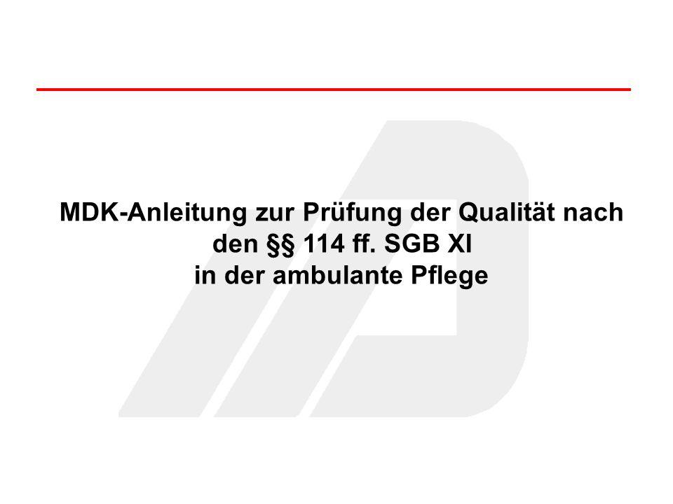 MDK-Anleitung zur Prüfung der Qualität nach den §§ 114 ff. SGB XI in der ambulante Pflege