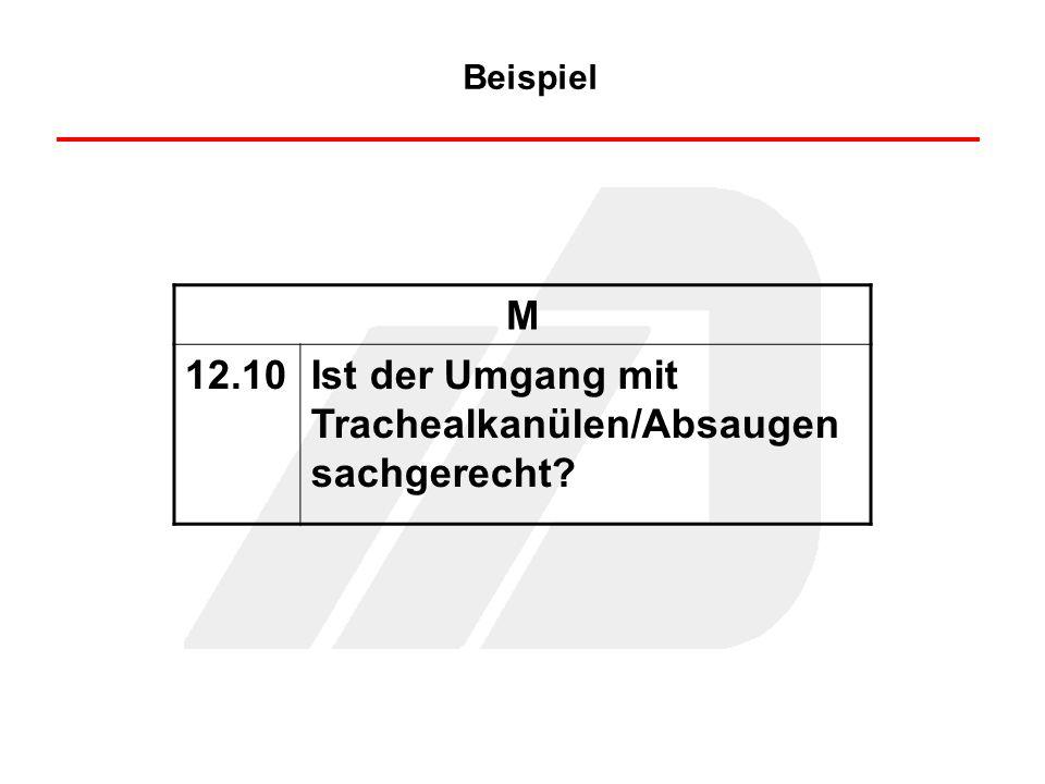 Beispiel M 12.10Ist der Umgang mit Trachealkanülen/Absaugen sachgerecht?