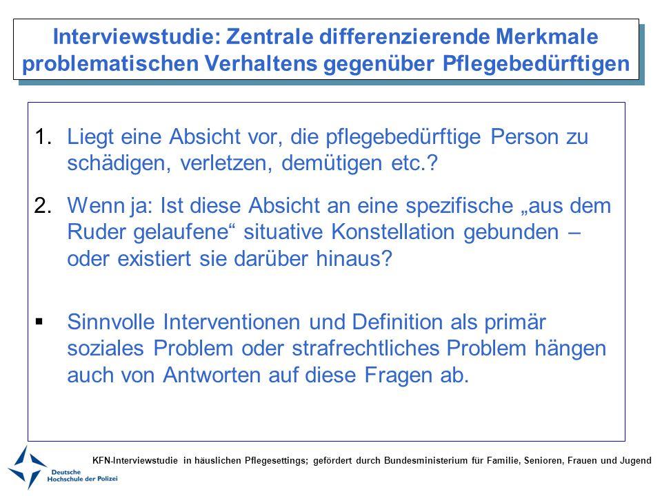 Interviewstudie: Zentrale differenzierende Merkmale problematischen Verhaltens gegenüber Pflegebedürftigen 1.Liegt eine Absicht vor, die pflegebedürft