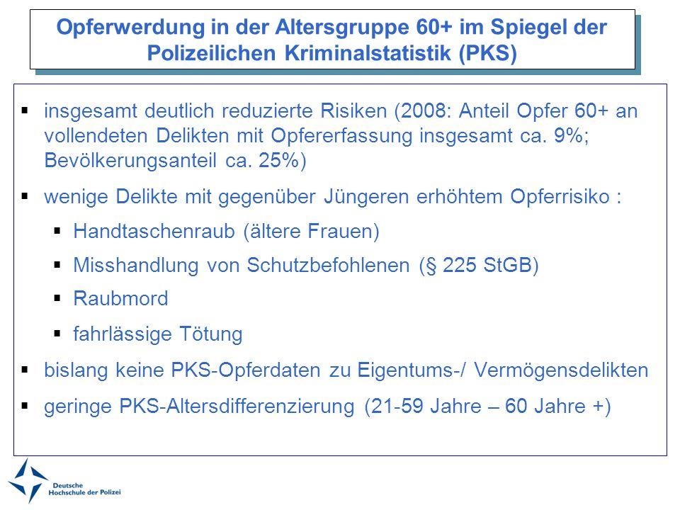Opferwerdung in der Altersgruppe 60+ im Spiegel der Polizeilichen Kriminalstatistik (PKS) insgesamt deutlich reduzierte Risiken (2008: Anteil Opfer 60