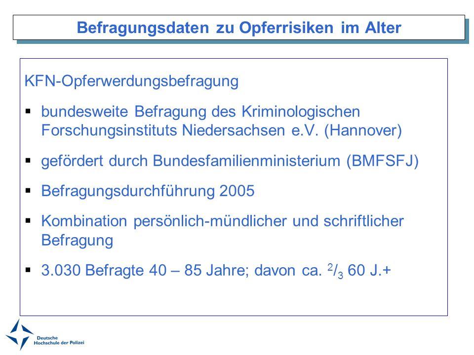 Befragungsdaten zu Opferrisiken im Alter KFN-Opferwerdungsbefragung bundesweite Befragung des Kriminologischen Forschungsinstituts Niedersachsen e.V.