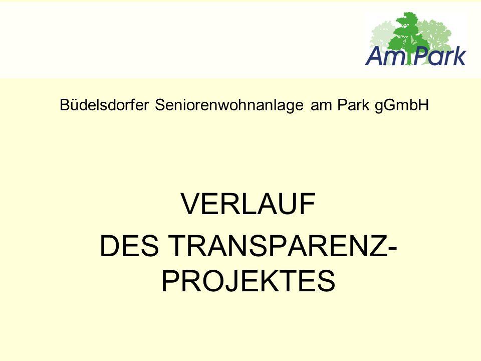 Büdelsdorfer Seniorenwohnanlage am Park gGmbH VERLAUF DES TRANSPARENZ- PROJEKTES