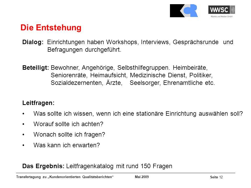 Mai 2009 Seite 12 Transfertagung zu Kundenorientierten Qualitätsberichten Die Entstehung Dialog: Einrichtungen haben Workshops, Interviews, Gesprächsr
