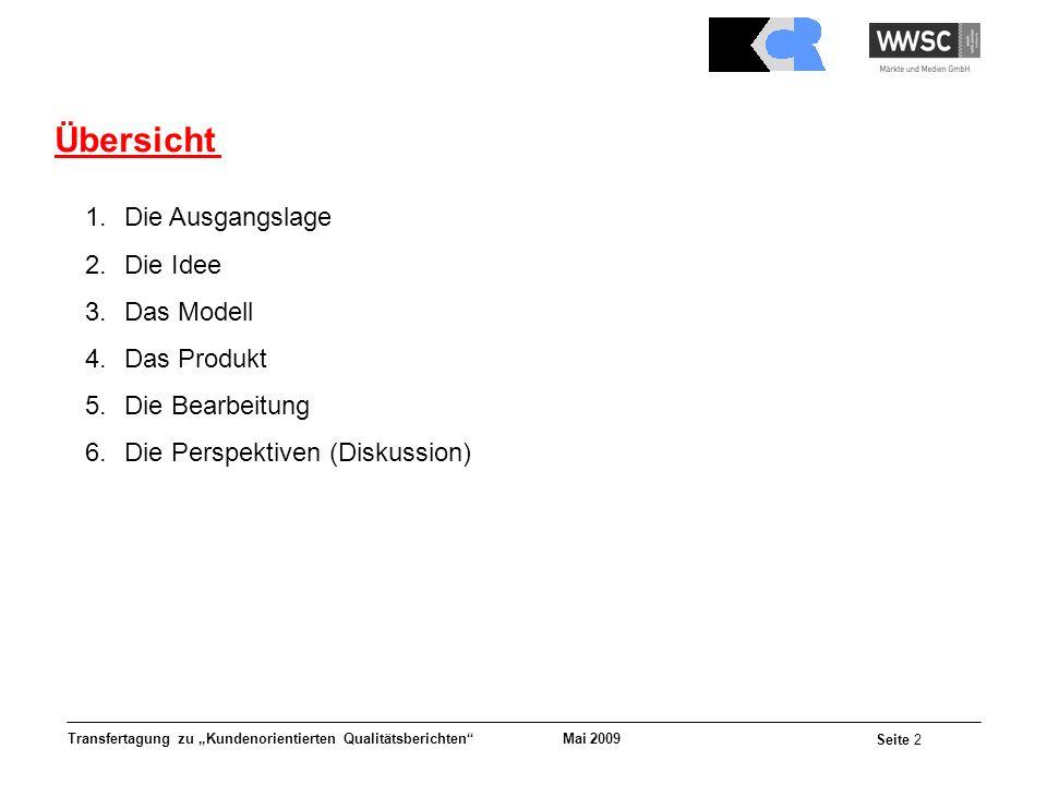 Mai 2009 Seite 2 Transfertagung zu Kundenorientierten Qualitätsberichten Übersicht 1.Die Ausgangslage 2.Die Idee 3.Das Modell 4.Das Produkt 5.Die Bear