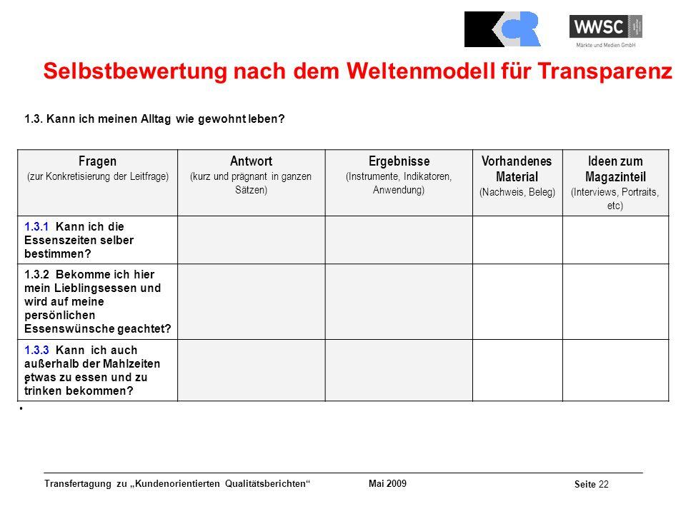 Mai 2009 Seite 22 Transfertagung zu Kundenorientierten Qualitätsberichten Selbstbewertung nach dem Weltenmodell für Transparenz 1.3. Kann ich meinen A