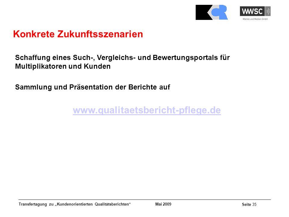 Mai 2009 Seite 35 Transfertagung zu Kundenorientierten Qualitätsberichten Schaffung eines Such-, Vergleichs- und Bewertungsportals für Multiplikatoren