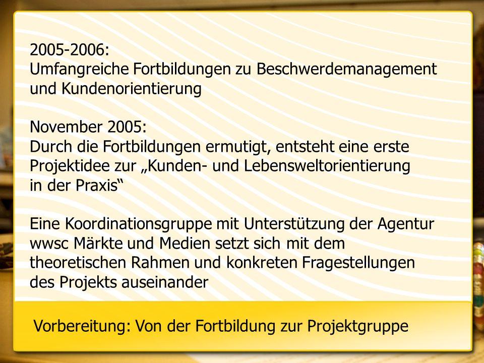 2005-2006: Umfangreiche Fortbildungen zu Beschwerdemanagement und Kundenorientierung November 2005: Durch die Fortbildungen ermutigt, entsteht eine er
