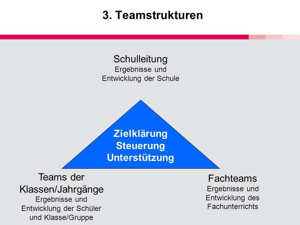 3. Teamstrukturen Schulleitung Ergebnisse und Entwicklung der Schule Teams der Klassen/Jahrgänge Ergebnisse und Entwicklung der Schüler und Klasse/Gru