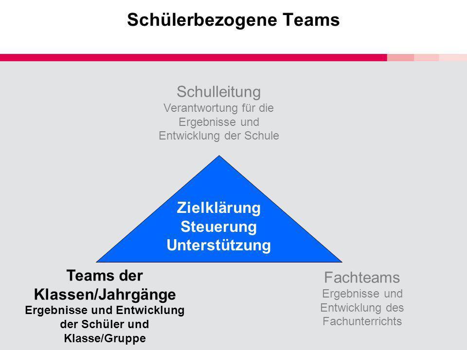 Schülerbezogene Teams Schulleitung Verantwortung für die Ergebnisse und Entwicklung der Schule Teams der Klassen/Jahrgänge Ergebnisse und Entwicklung