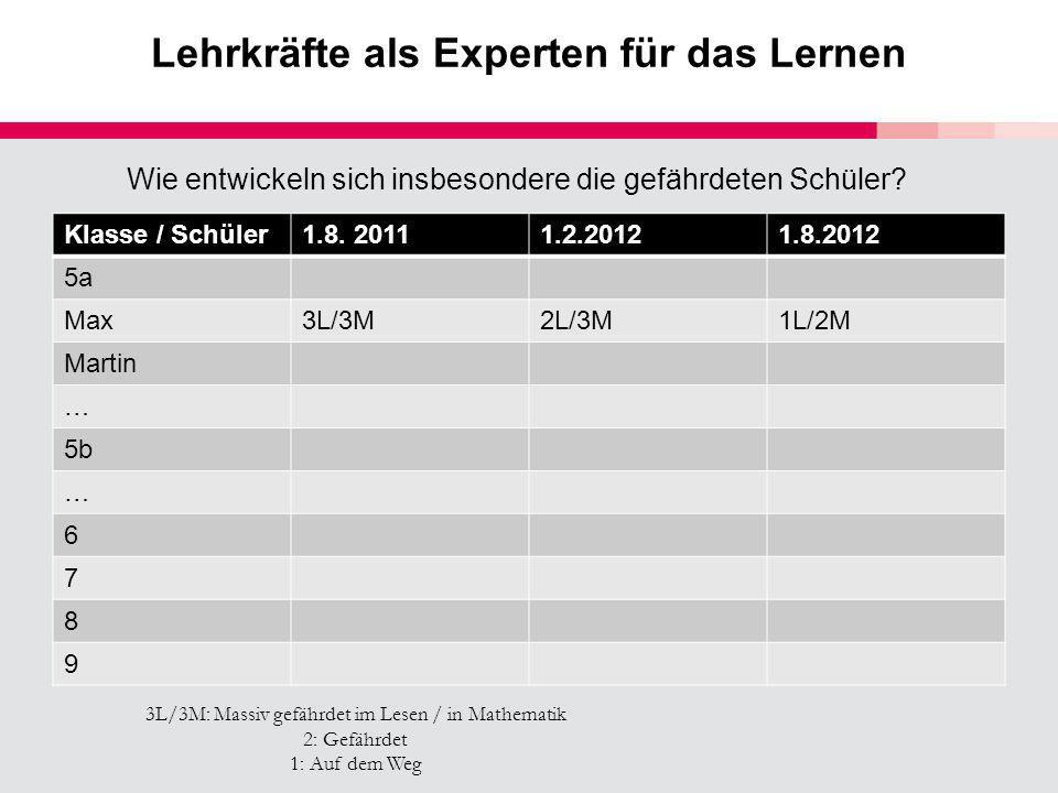 Lehrkräfte als Experten für das Lernen Klasse / Schüler1.8. 20111.2.20121.8.2012 5a Max3L/3M2L/3M1L/2M Martin … 5b … 6 7 8 9 3L/3M: Massiv gefährdet i