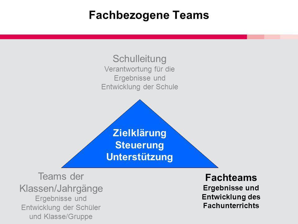 Fachbezogene Teams Schulleitung Verantwortung für die Ergebnisse und Entwicklung der Schule Teams der Klassen/Jahrgänge Ergebnisse und Entwicklung der