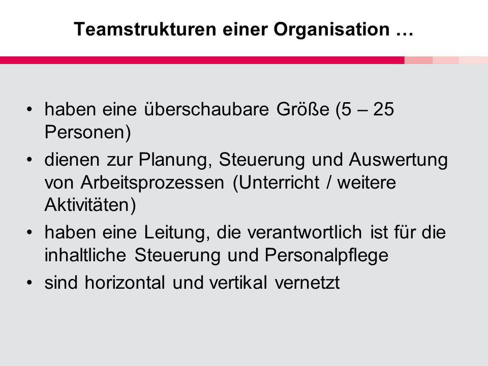 Teamstrukturen einer Organisation … haben eine überschaubare Größe (5 – 25 Personen) dienen zur Planung, Steuerung und Auswertung von Arbeitsprozessen