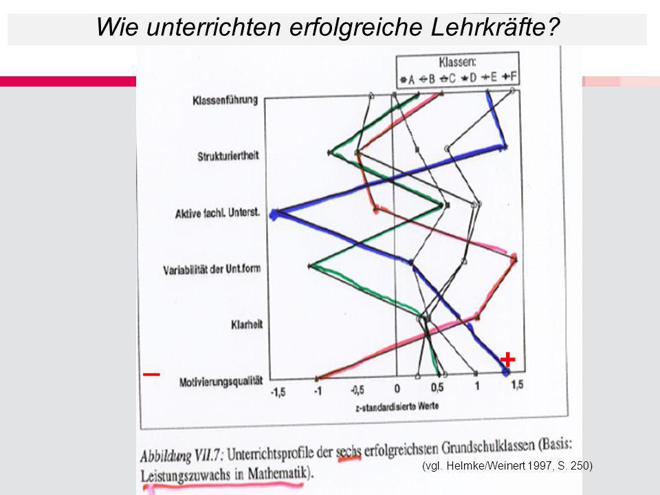 (vgl. Helmke/Weinert 1997, S. 250) +_ Wie unterrichten erfolgreiche Lehrkräfte?