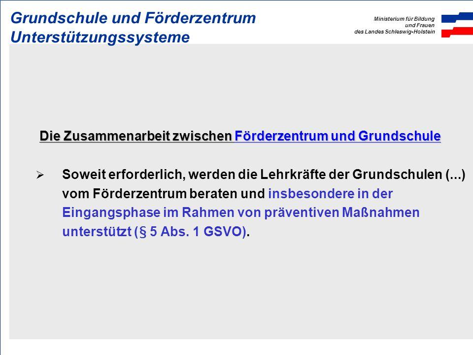 Ministerium für Bildung und Frauen des Landes Schleswig-Holstein Mindestgrößenverordnung Förderzentren von unter 750 Grundschülerinnen und Grundschüle