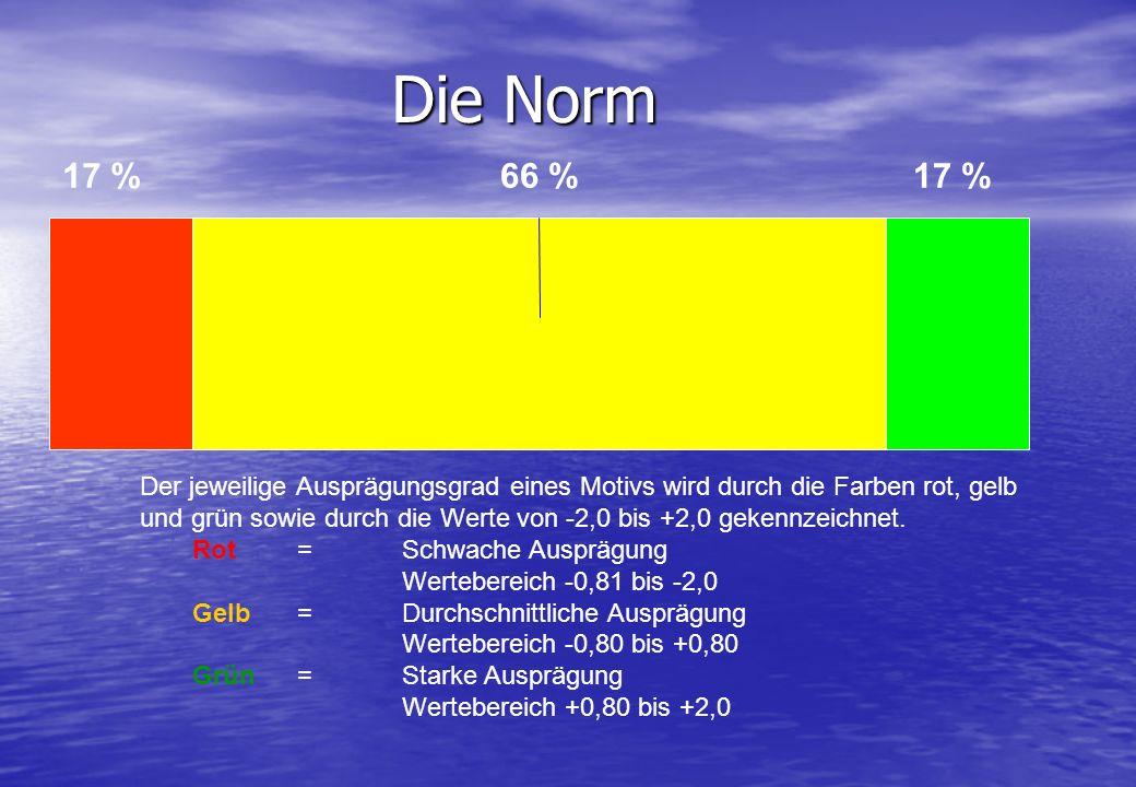 17 %66 %17 % Die Norm Der jeweilige Ausprägungsgrad eines Motivs wird durch die Farben rot, gelb und grün sowie durch die Werte von -2,0 bis +2,0 geke