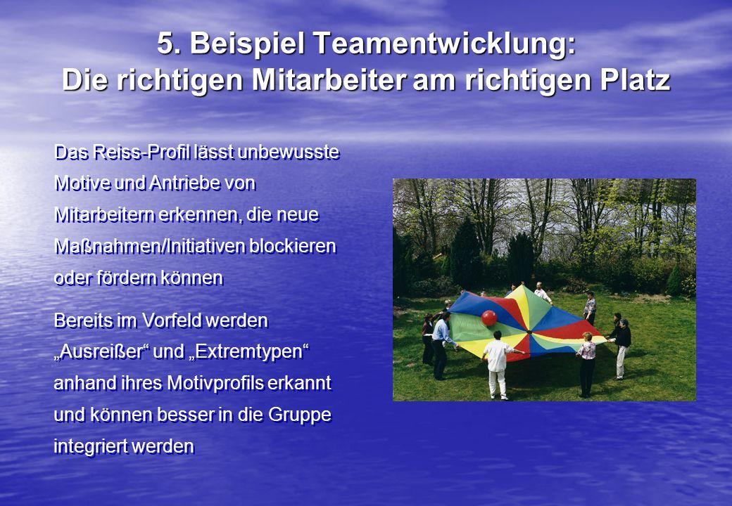 5. Beispiel Teamentwicklung: Die richtigen Mitarbeiter am richtigen Platz Das Reiss-Profil lässt unbewusste Motive und Antriebe von Mitarbeitern erken
